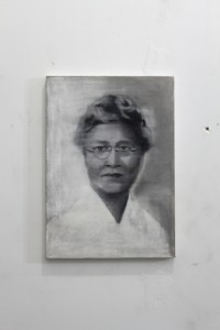 Portrait of Maudelle Brown Bousfield Charcoal and pastel on raw canvas under polymer glaze and varnish 14x20in, 2010-11