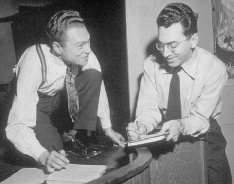 Norman Cazden (left) and Camp Woodland musical director Herbert Haufrecht, Catskill Mountains