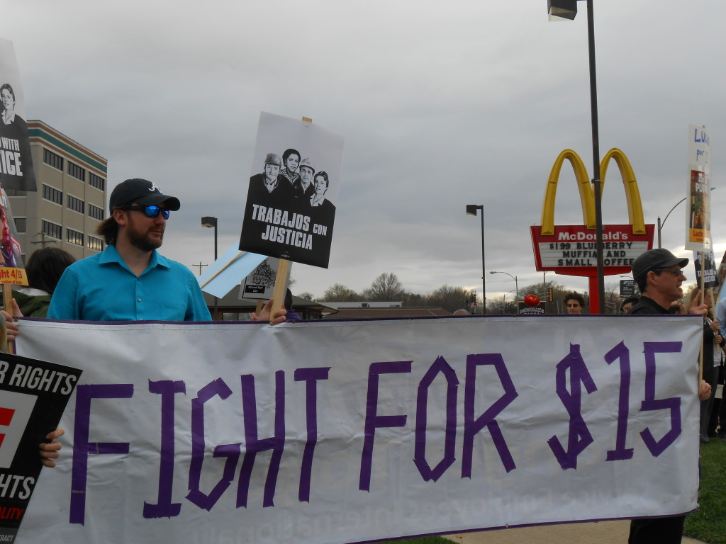On April 15, local unions held a rally at the McDonalds in Champaign, Neil&Kirby