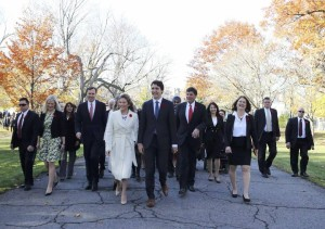 Prime Minister-elect Justin Trudeau and his wife, Sophie Grégoire, arrive with his cabinet to his swearing-in ceremony at Rideau Hall in Ottawa on November 4, 2015.