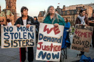 Protest demanding justice for missing and murdered indigenous women.