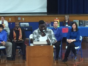 8th Grade student Victor Bradley gives keynote address