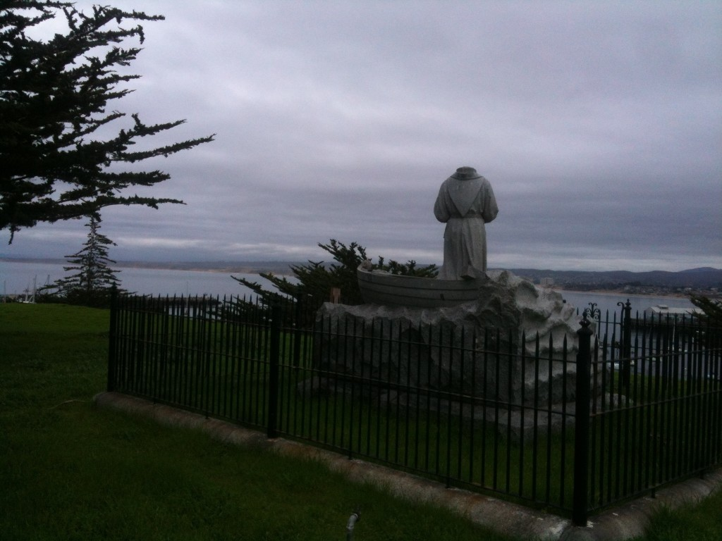 The headless Serra monument in Monterey, California.