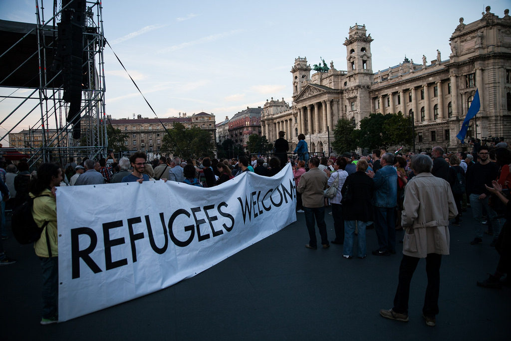 Pro-refugee demonstration in Budapest on September 30.